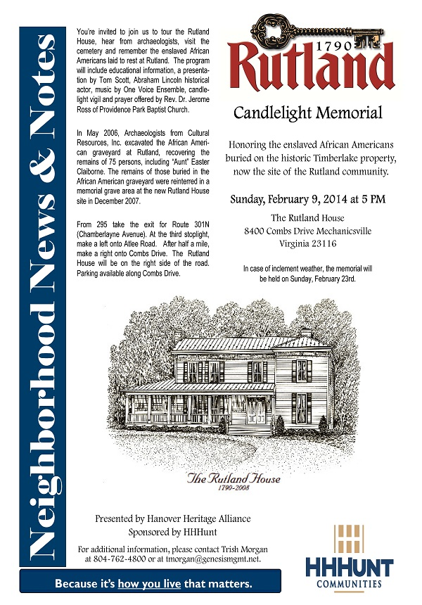 Candlelight Memorial at Rutland to Remember Enslaved African Americans