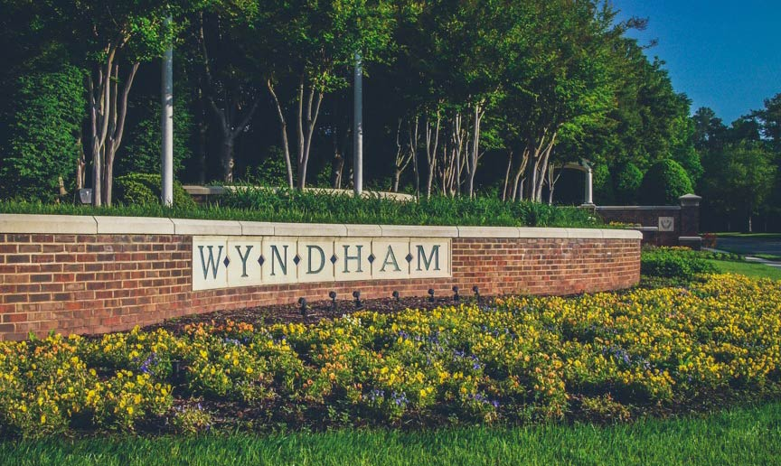 Brick entrance Wyndham HHHunt Community