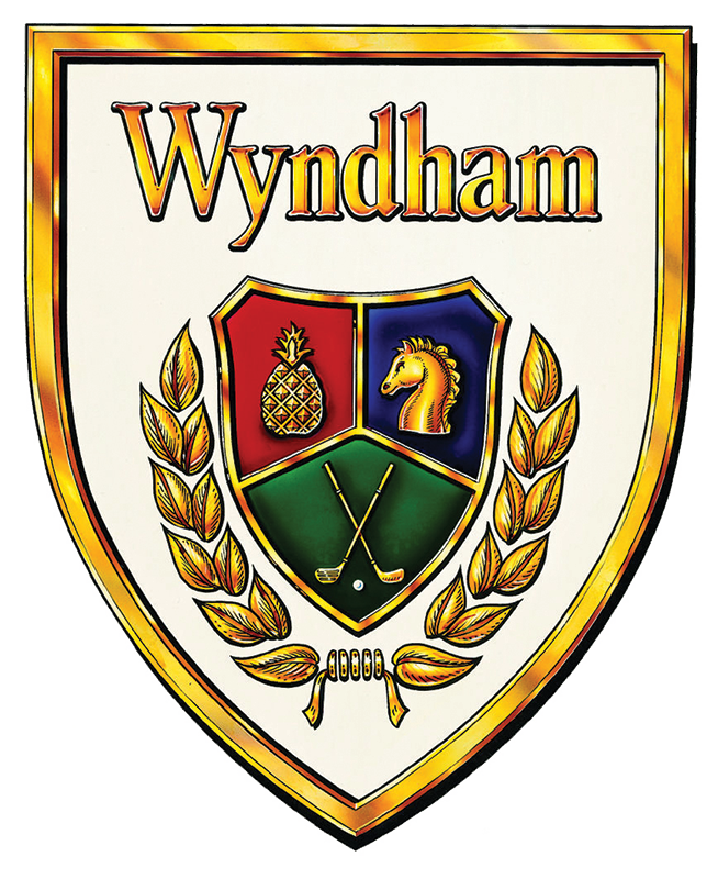Wyndham Collection Logo featuring a horse, a pineapple, and golf clubs contained within a golden crest - Henrico County, VA